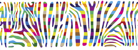 polychromatic: Horisontally seamless colorful vector background based on Zebra skin pattern
