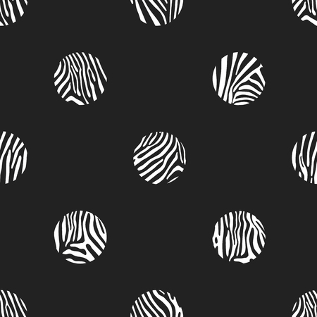 zebra pattern: Black seamless vector background with white polka dots of zebra pattern