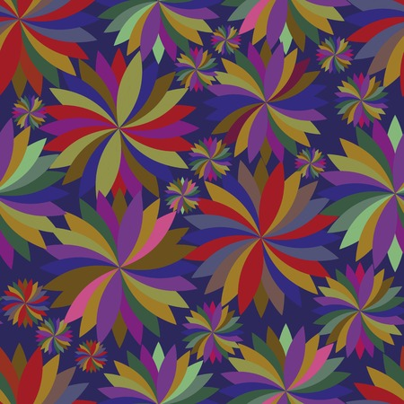 spinning: Seamless pattern with the composition of colored spinning tops on the dark blue background Illustration