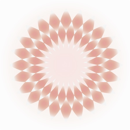 Pale pink-cream decorative circular ornament that resembles a flower or lozenge on a light background