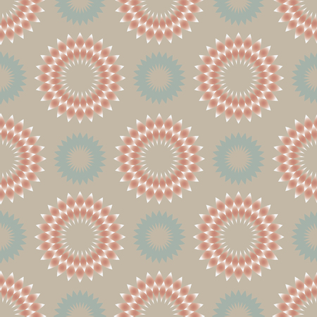pale colors: Floral seamless abstract pattern with circular ornaments in light pale colors