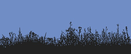 undergrowth: Great horisontally seamless background with a silhouette of grass or clump or undergrowth. Night wiew or twilight