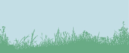 undergrowth: Great horisontally seamless background with a silhouette of grass or clump or undergrowth