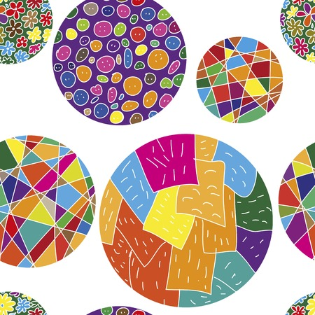 ironic: Seamless vector pattern with abstract colorful balls on white background