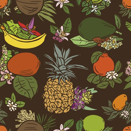 linocut: Seamless vector illustration of various tropical fruits with flowers and leaves