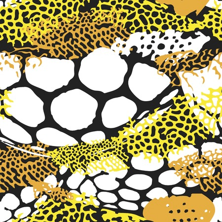 Seamless pattern stylized under the skin of marine fish and corals Illustration