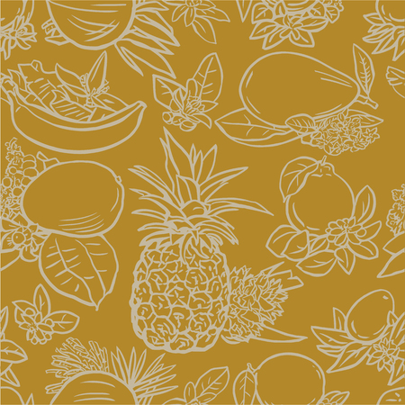 linoleum: Seamless vector illustration of various tropical fruits with flowers and leaves