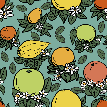linoleum: Seamless vector illustration of various citrus fruits with flowers and leaves