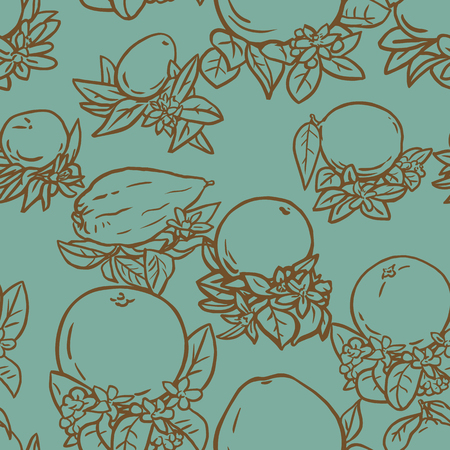 citron: Seamless vector illustration of various citrus fruits with flowers and leaves
