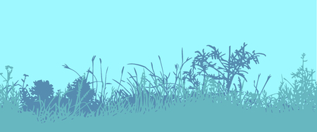 vacant: Great horisontally seamless vector background with a silhouette of grass or clump or undergrowth