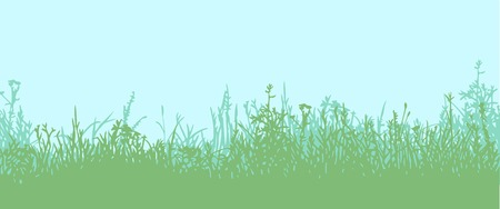 clump: Great horisontally seamless vector background with a silhouette of grass or clump or undergrowth