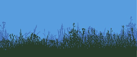 morning night: Great horisontally seamless vector background with a silhouette of grass or clump or undergrowth. Night wiew or twilight Illustration