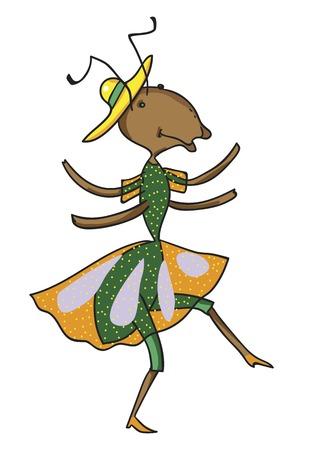 fictional character: Fabulous ant is dancing in orange dress