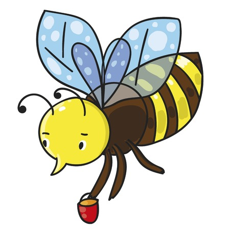 useful: Bee. Color vector illustration with black outline