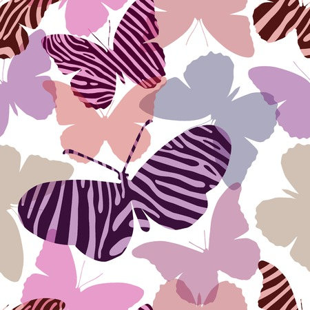 Seamless pattern in pink colors with butterflies painted Zebra