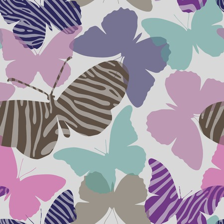 gamma tone: Seamless pattern in muted tones with butterflies painted Zebra