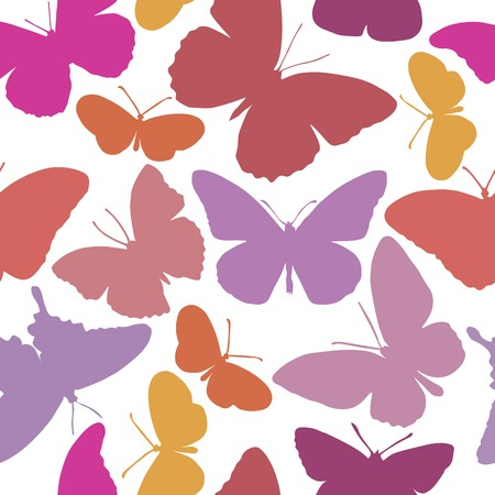 gamma tone: Color seamless pattern with different shaped butterflies