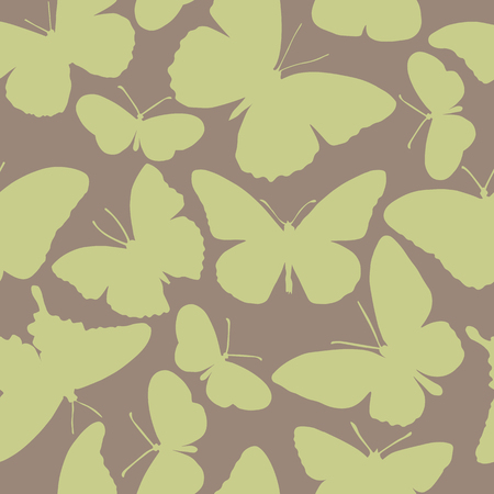 Warm seamless pattern with different shaped butterflies