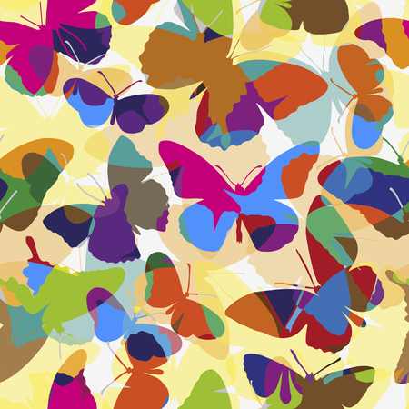 Color seamless pattern with different shaped butterflies