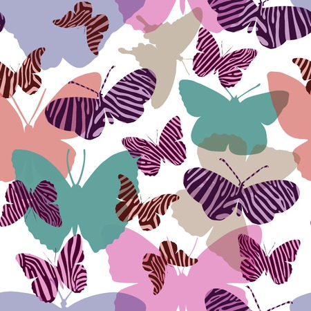 gamma tone: Seamless pattern seamless pattern in pink colors with butterflies painted Zebra