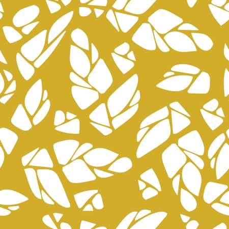 dichromatic: Seamless pattern with cones of hops or leaves and flowers