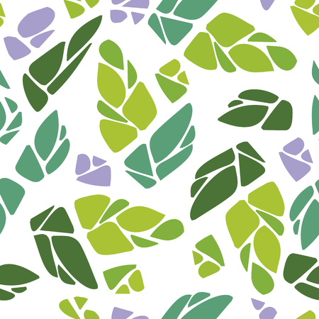 modernism: Seamless pattern with cones of hops or leaves and flowers