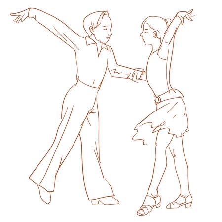 Los niños bailando pareja realiza una danza de América Latina Foto de archivo - 56108392