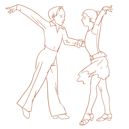 Children dancing couple performs a Latin American dance