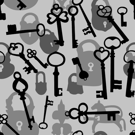 door lock love: Seamless background made of silhouettes of padlocks and keys