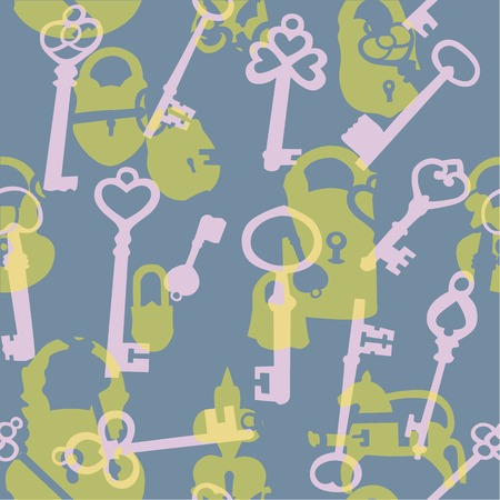intrigue: Seamless background made of silhouettes of padlocks and keys