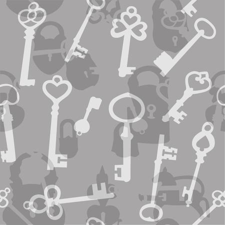padlocks: Seamless background made of silhouettes of padlocks and keys