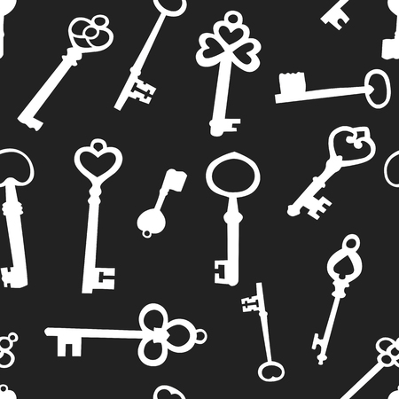 Seamless background with silhouettes of old keys