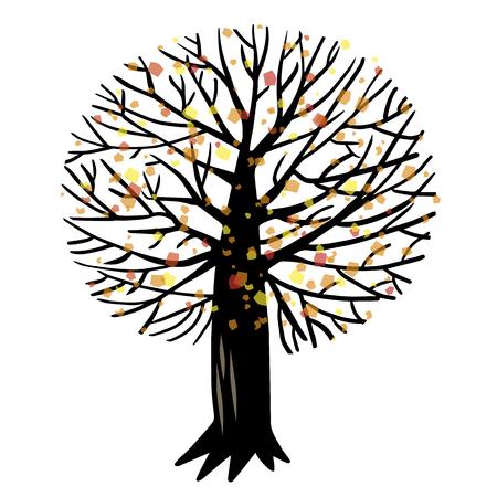 cherrytree: illustration with autumn Apple tree or cherry tree Illustration