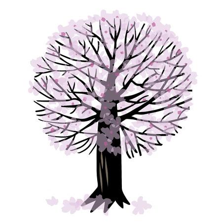 cherrytree: illustration with spring Apple tree or cherry tree Illustration