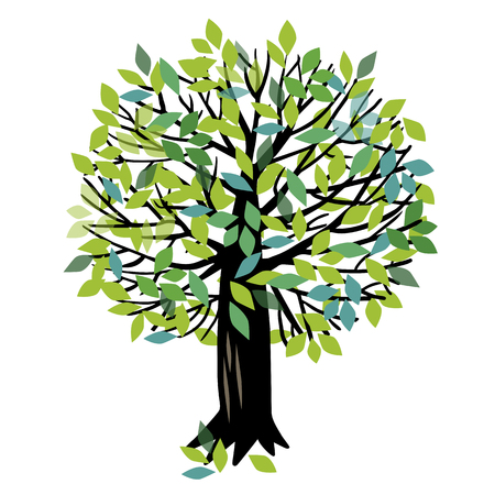 illustration with green Apple tree or cherry tree