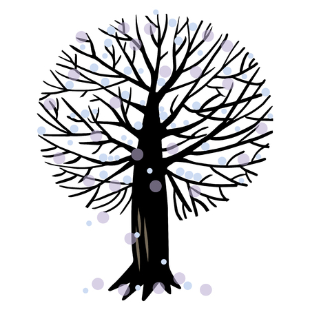 Vector illustration with winter Apple tree or maple