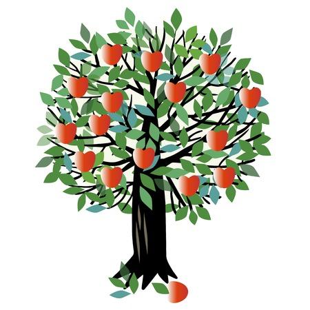 Ilustración de un árbol frutal. árbol de manzana Ilustración de vector