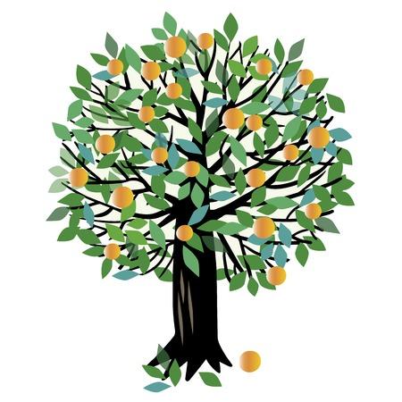 Ilustración de un árbol frutal. melocotonero o árbol de naranja