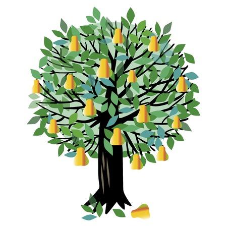 Ilustración de un árbol frutal. Arbol de pera