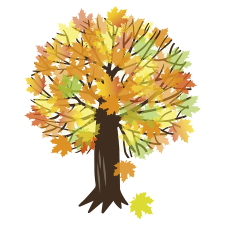 thick forest: illustration of autumn maple tree with falling leaves