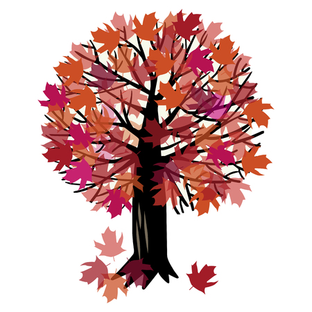 Vector illustration of the canadian maple tree and falling autumn leaves Stock Illustratie