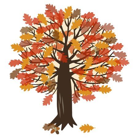 Illustration mit dem Bild der Eiche und fallenden Blätter im Herbst