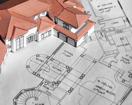 model huis en afdrukken