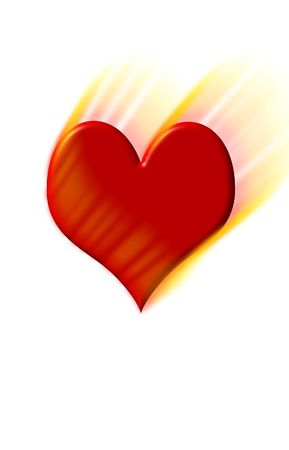 burning paper: red hot heart illustration and background