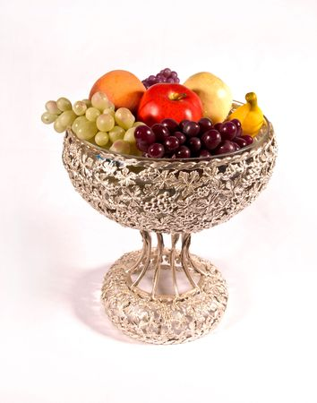 fruit and silver bowl