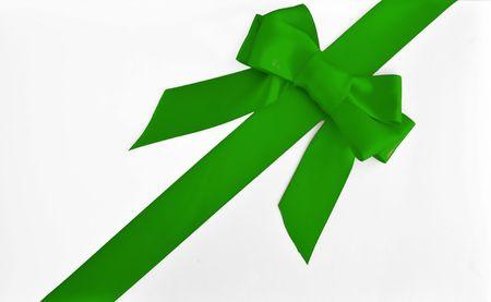 holiday green bow and ribbon gift box Imagens
