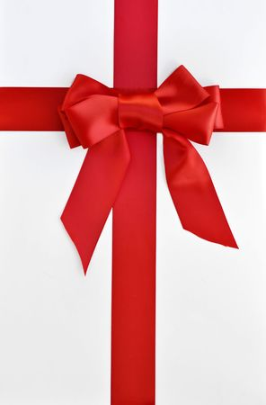 red bow and ribbon gift wrap Imagens