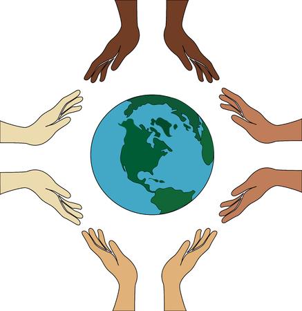 hold: all hand hold world Illustration