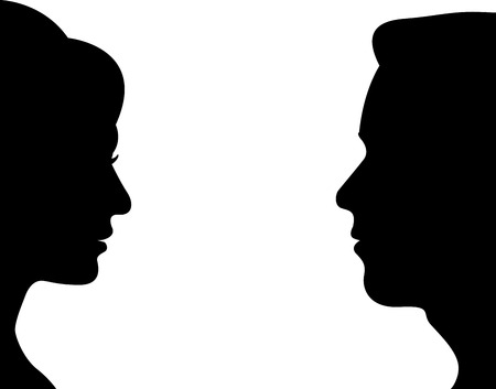 male face profile: man and women vector