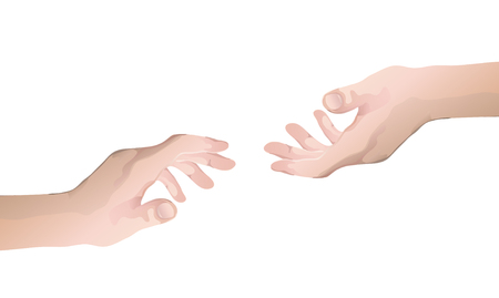 hand try to hold other hand vector Illustration